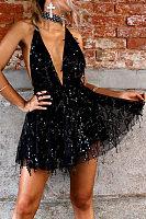 Deep V Neck Bowknot Sequin Sleeveless Party Dresses