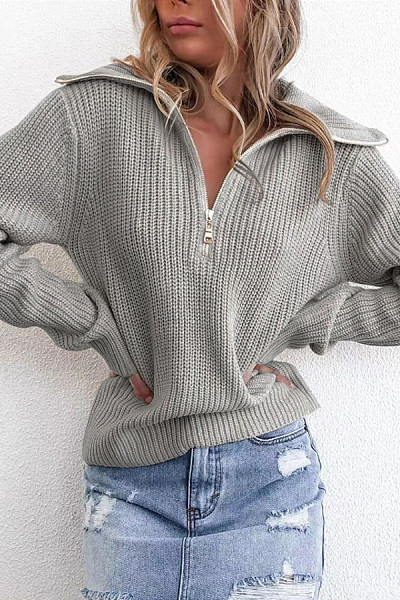 A Lapel Long Sleeve Plain Sweater