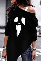 Halloween One Shoulder Ghost Printed Hoodies