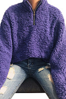 Band Collar  Zipper  Plain  Teddy Outerwear