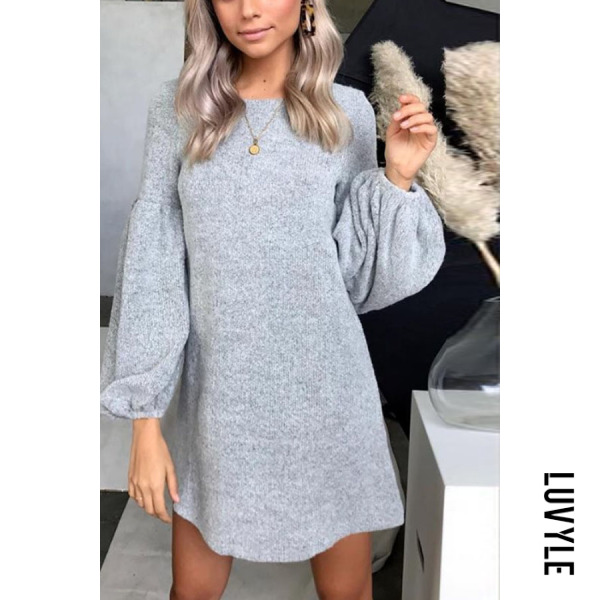 Gray Round Neck Plain Lantern Sleeve Long Sleeve Casual Dresses Gray Round Neck Plain Lantern Sleeve Long Sleeve Casual Dresses