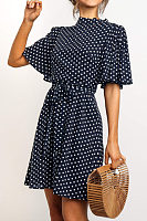 High Neck  Belt  Dot  Short Sleeve Casual Dresses