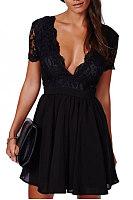 Chiffon Patchwork Backless Dress
