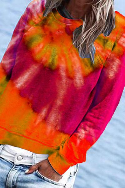 Tie-dye Printed Long Sleeve Sweatshirt