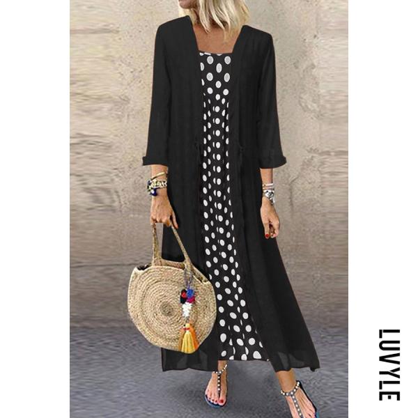 Black Fashion Round Neck Polka Dot Two-Piece Dress Black Fashion Round Neck Polka Dot Two-Piece Dress