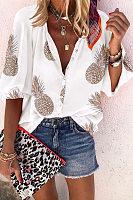 Casual V-Neck Printed Long-Sleeved Shirt