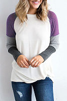 Round Neck  Color Block Patchwork T-Shirts