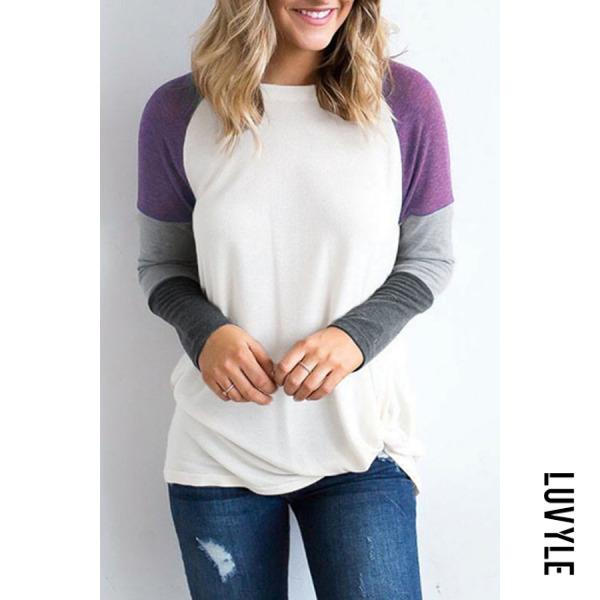 Purple Round Neck Color Block Patchwork T-Shirts Purple Round Neck Color Block Patchwork T-Shirts
