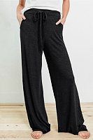 Casual Drawstring Wide-leg Pants