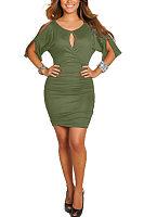 Open Shoulder Round Neck  Plain  Half Sleeve Bodycon Dresses