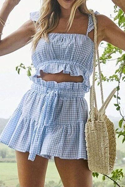 Spaghetti Strap  Gingham Two-Piece Outfits