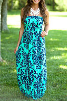 Strapless Backless Printed Sleeveless Maxi Dresses