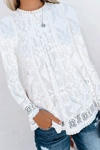 Lace V-Neck Stitching Solid Color Long-Sleeved T-Shirt
