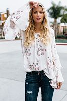 Round Neck  Floral Printed  Bell Sleeve  Blouses