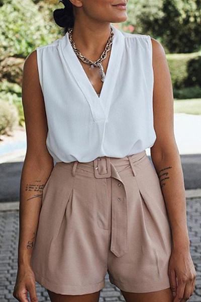Casual Solid Color V-Neck Versatile Sleeveless Shirt