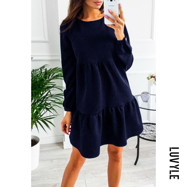 Navy Blue Round Neck Patchwork Plain Casual Dresses Navy Blue Round Neck Patchwork Plain Casual Dresses