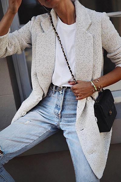 Fashion Long Sleeve Fold Over Collar Blazer