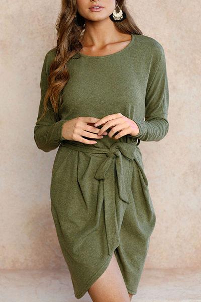 Round Neck  Asymmetric Hem  Belt  Plain  Long Sleeve Casual Dresses