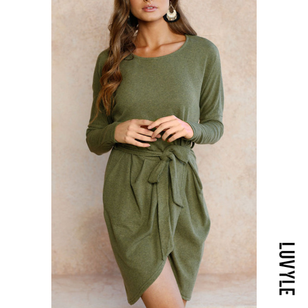 Green Round Neck Asymmetric Hem Belt Plain Long Sleeve Casual Dresses Green Round Neck Asymmetric Hem Belt Plain Long Sleeve Casual Dresses