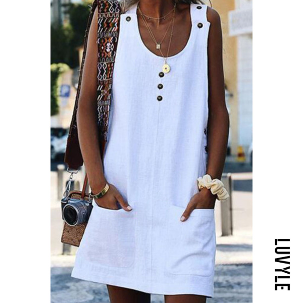 White Round Neck Plain Sleeveless Casual Dresses White Round Neck Plain Sleeveless Casual Dresses