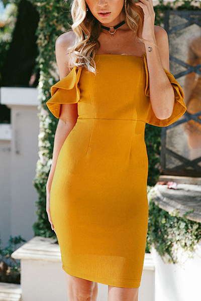 Off Shoulder  Backless  Plain  Short Sleeve Bodycon Dresses