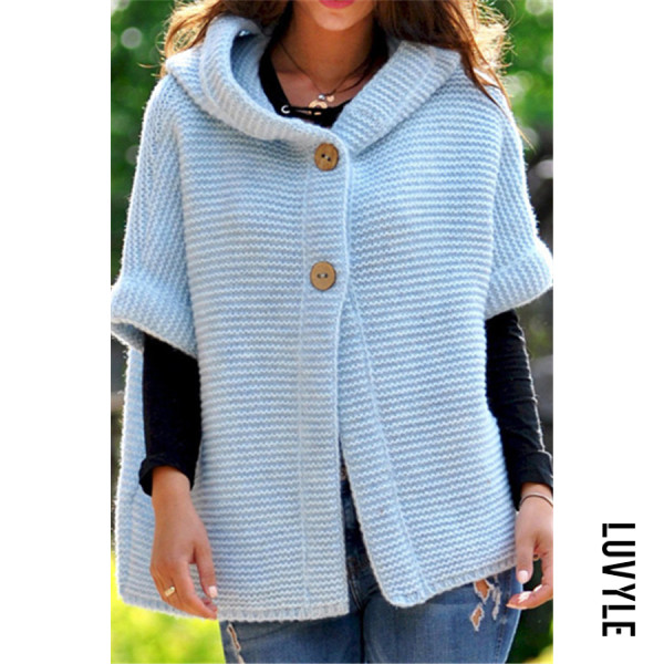 Sky Blue Hoodied Two Buttons Short Sleeve Knit Sweater Sky Blue Hoodied Two Buttons Short Sleeve Knit Sweater