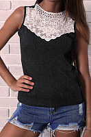 Round Neck  Decorative Lace  Plain Camis
