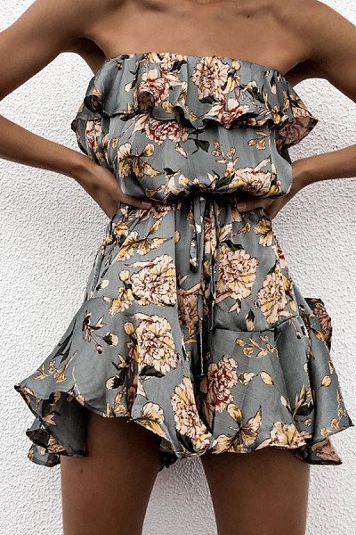 Off  Shoulder  Printed  Sleeveless  Playsuits