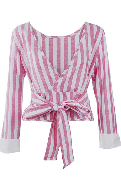 Backless Bowknot Vertical Striped Long Sleeve Shirts