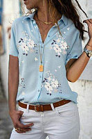 Turn Down Collar  Printed  Blouses