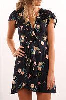 V Neck  Asymmetric Hem  Floral Printed  Short Sleeve Casual Dresses
