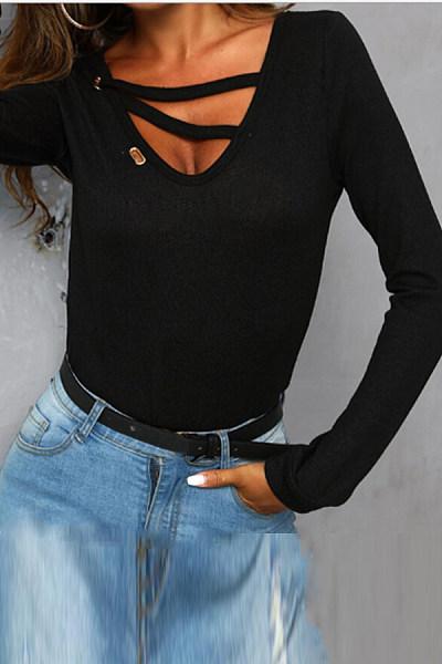 Deep V Collar  Plain  Regular  Brief  Plain  Long Sleeve T-Shirts