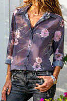Turn Down Collar  Floral Printed  Blouses
