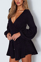 Deep V Neck  Belt Loops  Plain  Bishop Sleeve  Long Sleeve Skater Dresses