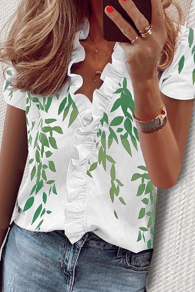 Floral Ruffle Neckline Long Sleeve Blouse