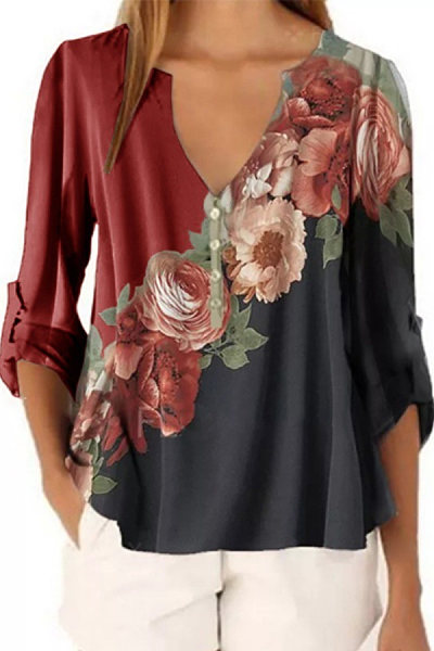 Fashion - V-neck floral print long sleeve blouse chiffon shirt