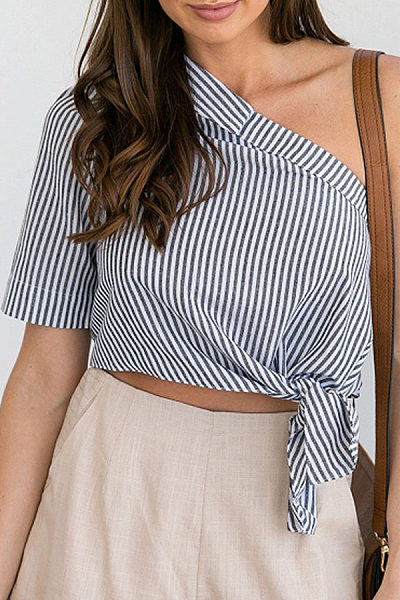 One Shoulder  Backless  Exposed Navel  Vertical Striped Shirts