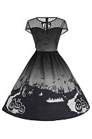 Halloween Printed Gradient Tie Collar See-Through Skater Dress