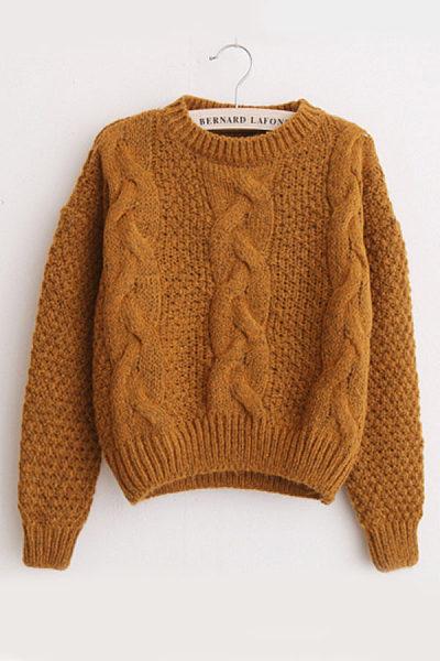 Variegated Twist Round Neck Sweaters