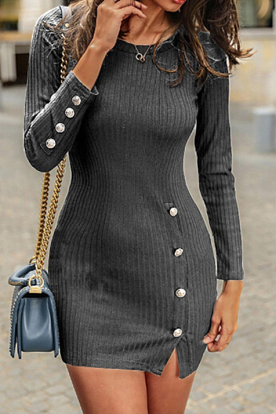 Long Sleeve Plain Side Slit Mini Dress