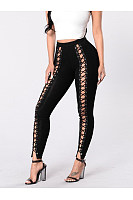 New  Sexy Lace-Up  Keyhole  Hollow Out  Slim-Leg  High-Rise Leggings
