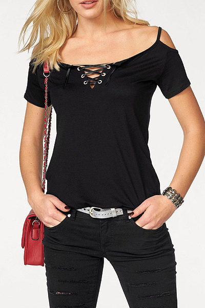 Spaghetti Strap  Lace Up  Plain T-Shirts