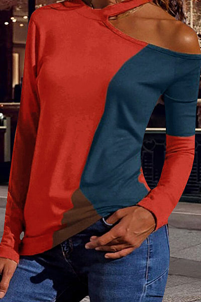 Fashion Round Neck Long Sleeve Colorblock T-Shirts