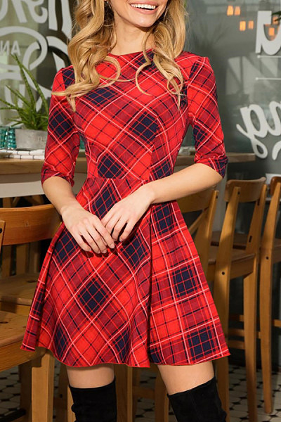 Round Neck  Gingham  Half Sleeve Skater Dresses