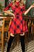 Round Neck  Gingham  Half Sleeve Skater Dresses