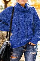 Fashion High Collar Plain Long Sleeve Sweater