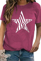 Round Neck Star Short Sleeve T-shirt