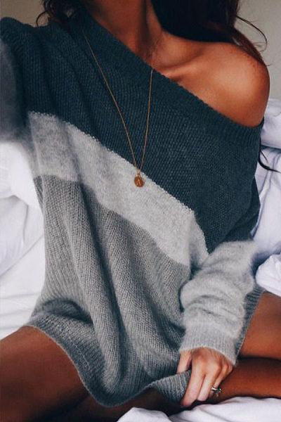 Scoop Neck  Color Block Sweaters