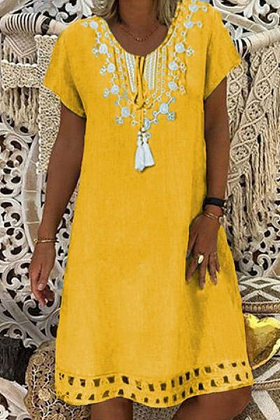 V Neck Short Sleeve Printed Casual Dress