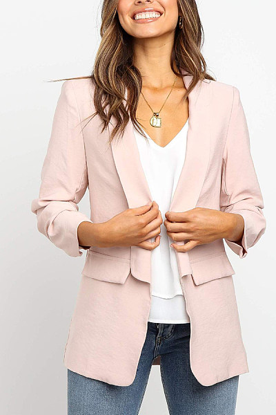 Casual Solid Color Long Sleeve Lapel Small Suit